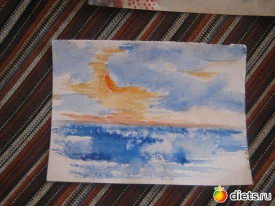 *Море*, акварель, бумага, альбом: Вернисаж картин Дарьи Тундры  (Дарья Калита)