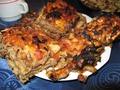 Песах.Мясной пирог с мацой и  баклажанами
