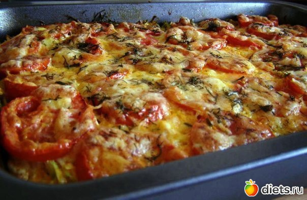 Мясо кабачок помидор в духовке