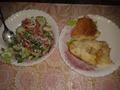 Салатик овощной и морской окунь