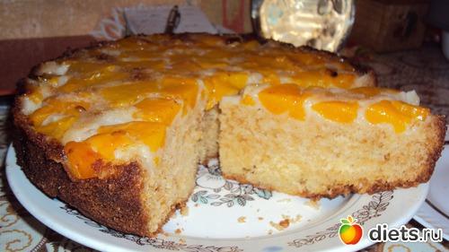 пирог рецепт с фото с консервированными персиками