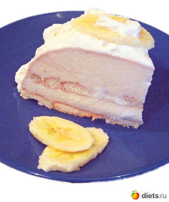 Бананово творожный торт без выпечки диетический