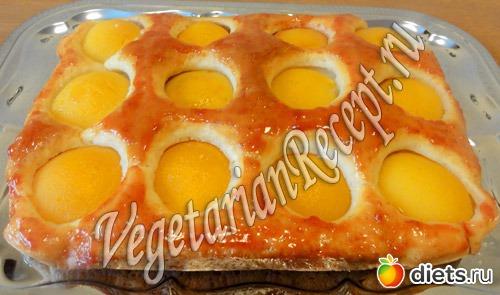 рецепт пирога с консервированными персиками новой
