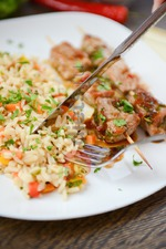 Свиные шашлычки с тайским соусом и рисом. Вкусная коллекция