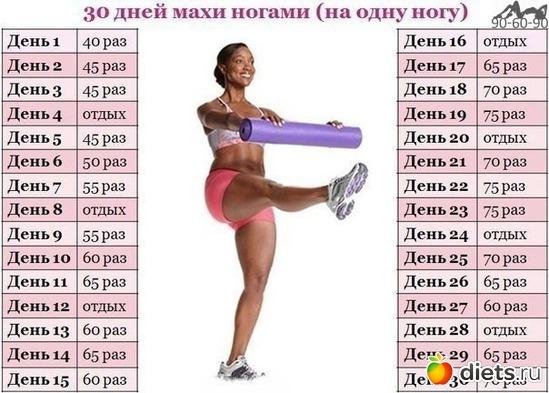 30 дней махи ногами ( на одну ногу), альбом: упражнения