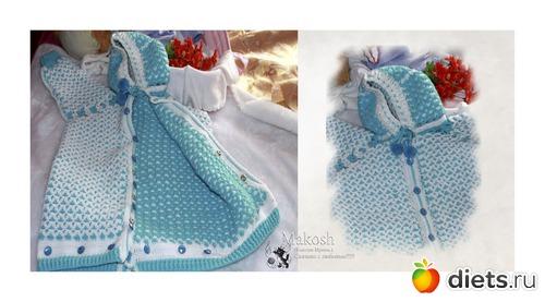 Вязание конверта для новорожденного спицами видео