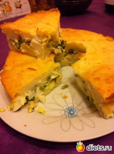 Заливной пирог с яйцом и зелёным луком, альбом: Я готовлю.
