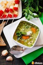 Куриный суп с зеленым горошком и соусом из петрушки и мяты. Вкусная коллекция