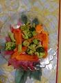 Овощи на пару , с соусом(оливковое масло, лимон.сок, специи)
