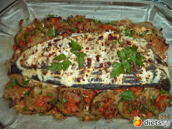 филе голубой макрели запечённое с овощами, альбом: здоровая пища ))