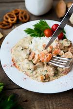 Куриное филе с креветками в сливочно-грибном соусе. Вкусная коллекция