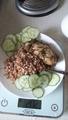 Завтрак:95куриное филе,гречка с раст.маслом-85,огурцы